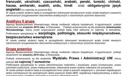 Praktyki w Agencji Bezpieczeństwa Wewnętrznego