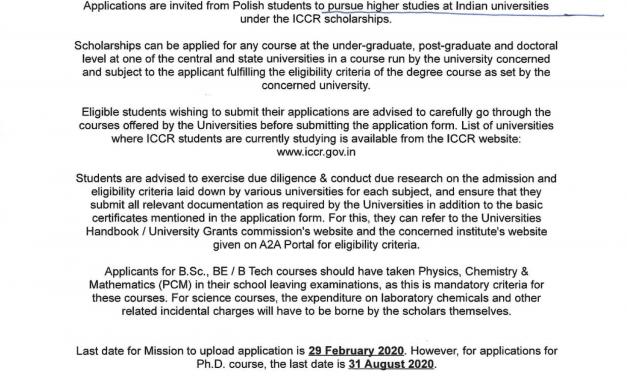 Stypendium na studia na uczelniach indyjskich
