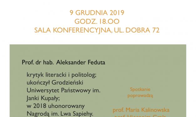 9 grudnia: spotkanie autorskie z prof. dr hab. Aleksandrem Fedutą